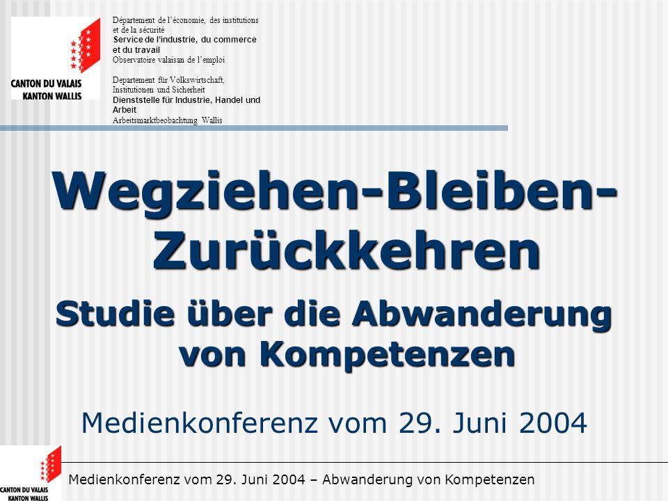 Medienkonferenz vom 29. Juni 2004 – Abwanderung von Kompetenzen Wegziehen-Bleiben- Zurückkehren Studie über die Abwanderung von Kompetenzen Medienkonf