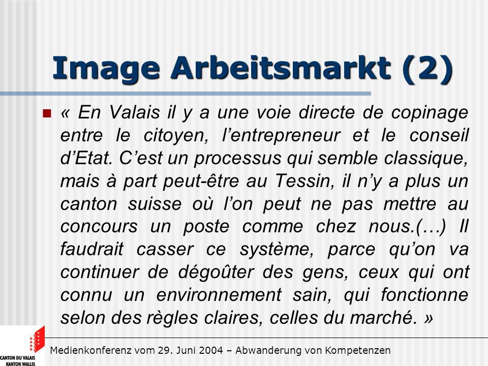 Medienkonferenz vom 29. Juni 2004 – Abwanderung von Kompetenzen Image Arbeitsmarkt (2) « En Valais il y a une voie directe de copinage entre le citoye