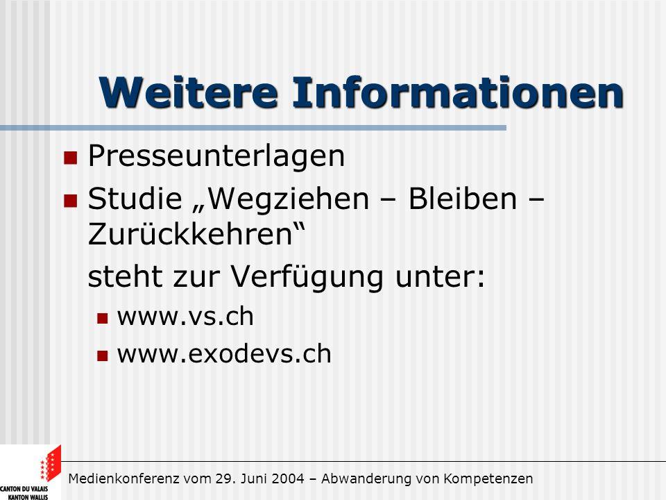 Medienkonferenz vom 29. Juni 2004 – Abwanderung von Kompetenzen Weitere Informationen Presseunterlagen Studie Wegziehen – Bleiben – Zurückkehren steht