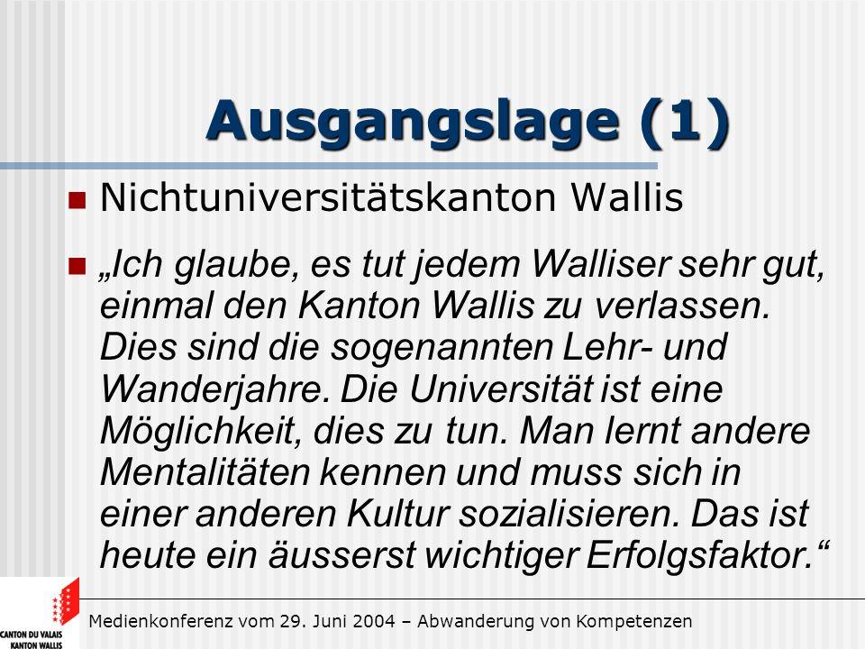 Medienkonferenz vom 29. Juni 2004 – Abwanderung von Kompetenzen Ausgangslage (1) Nichtuniversitätskanton Wallis Ich glaube, es tut jedem Walliser sehr