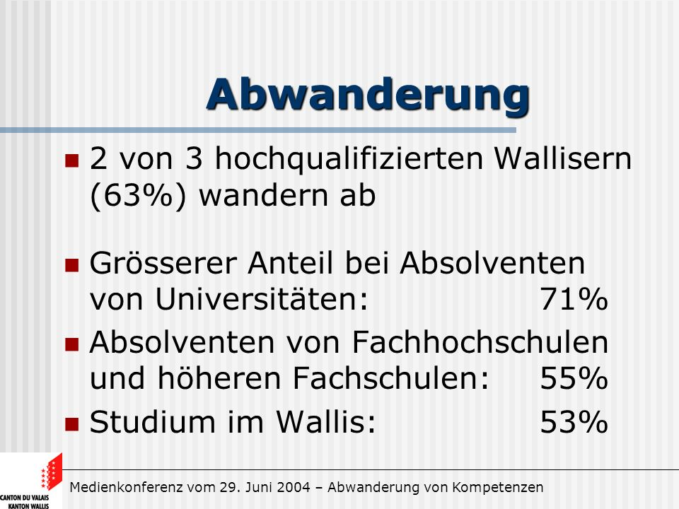 Medienkonferenz vom 29. Juni 2004 – Abwanderung von Kompetenzen Abwanderung 2 von 3 hochqualifizierten Wallisern (63%) wandern ab Grösserer Anteil bei