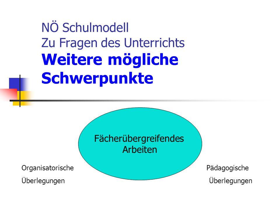 NÖ Schulmodell Zu Fragen des Unterrichts Weitere mögliche Schwerpunkte Organisatorische Pädagogische Überlegungen Fächerübergreifendes Arbeiten