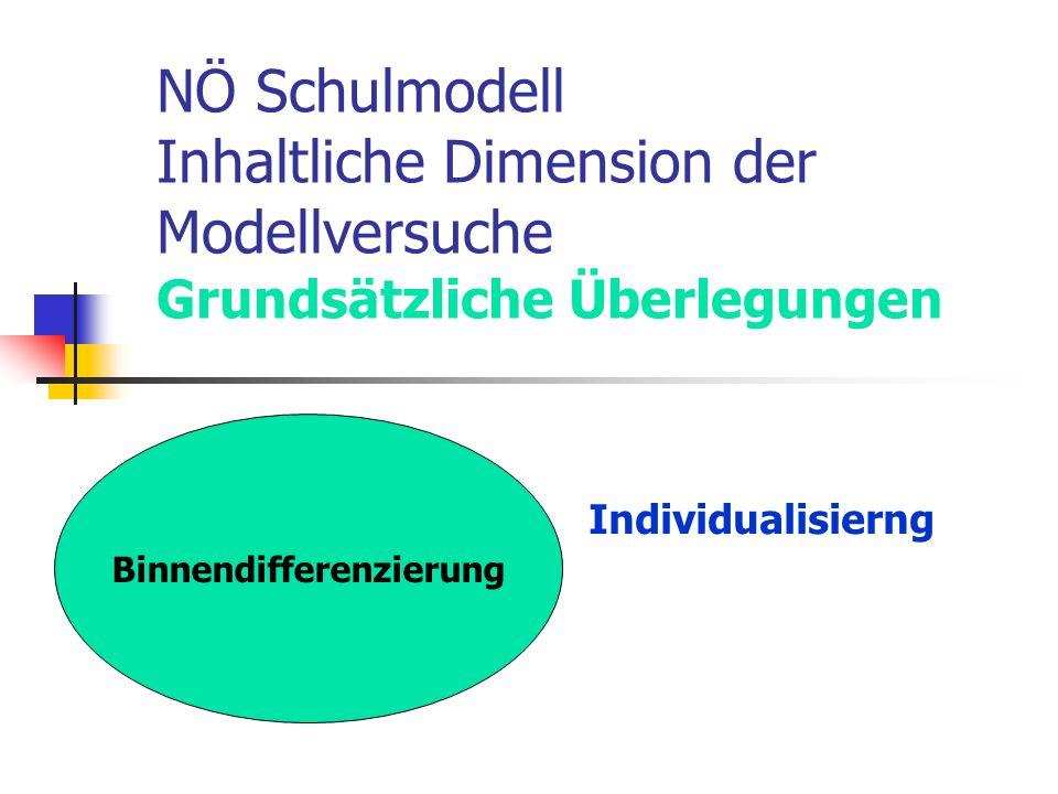 NÖ Schulmodell Inhaltliche Dimension der Modellversuche Grundsätzliche Überlegungen Individualisierng Binnendifferenzierung