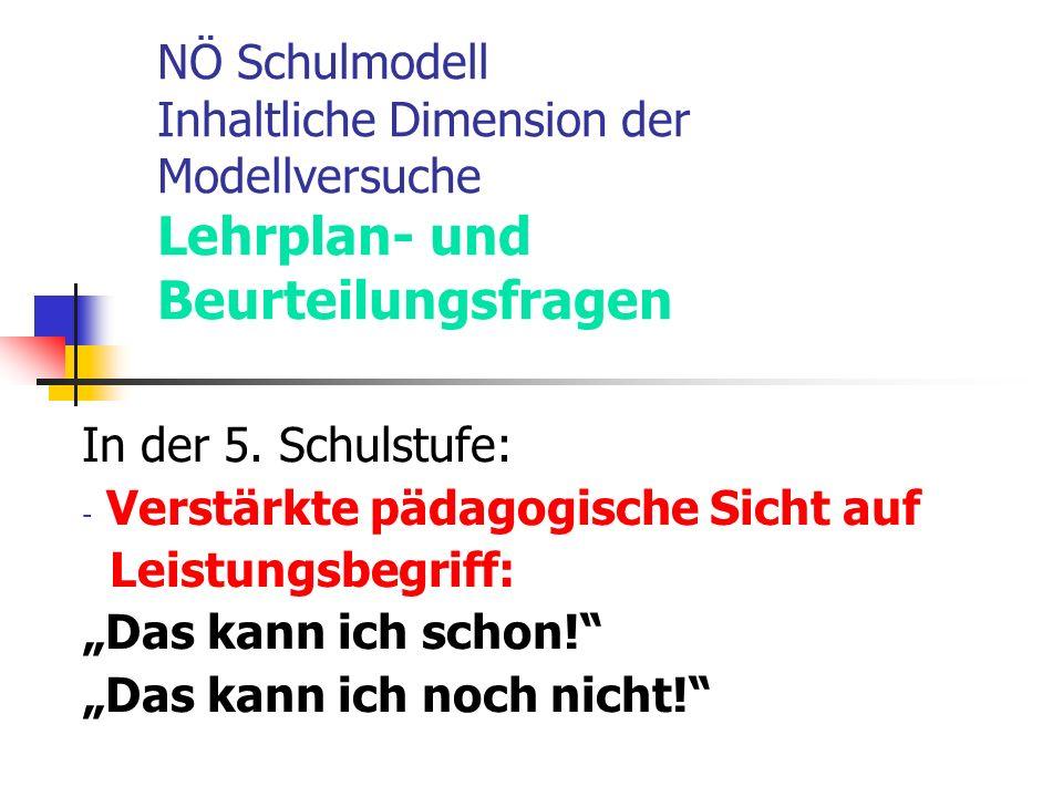 NÖ Schulmodell Inhaltliche Dimension der Modellversuche Lehrplan- und Beurteilungsfragen In der 5.