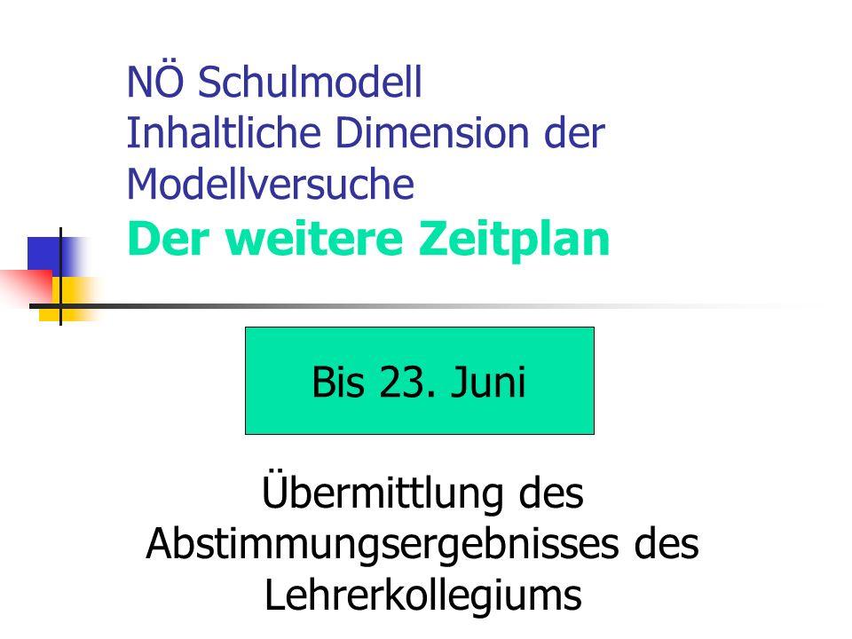 NÖ Schulmodell Inhaltliche Dimension der Modellversuche Der weitere Zeitplan Bis 23.