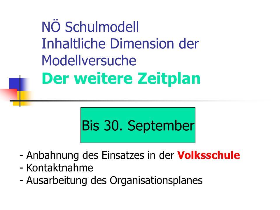 NÖ Schulmodell Inhaltliche Dimension der Modellversuche Der weitere Zeitplan Bis 30.