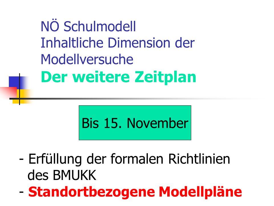 NÖ Schulmodell Inhaltliche Dimension der Modellversuche Der weitere Zeitplan Bis 15.