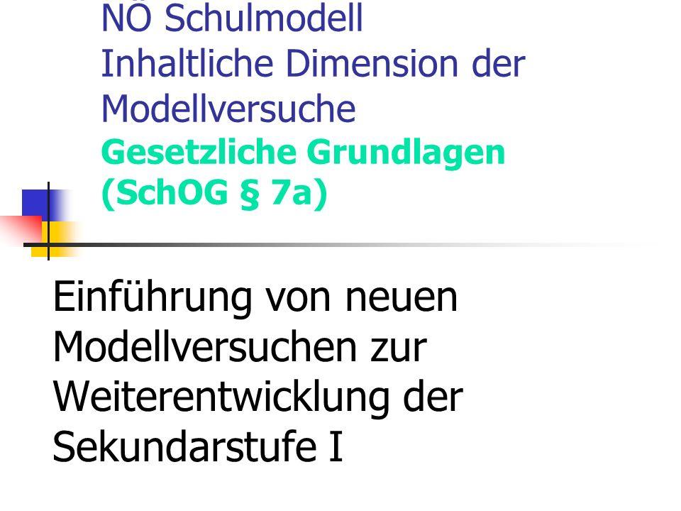 NÖ Schulmodell Inhaltliche Dimension der Modellversuche Gesetzliche Grundlagen (SchOG § 7a) Einführung von neuen Modellversuchen zur Weiterentwicklung der Sekundarstufe I