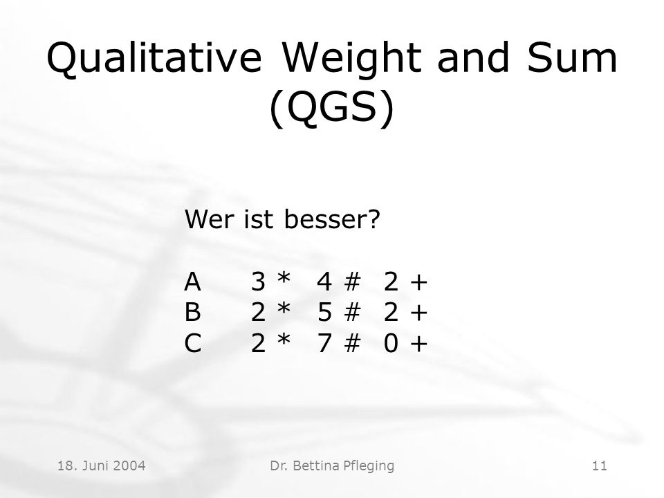 18.Juni 2004Dr. Bettina Pfleging11 Qualitative Weight and Sum (QGS) Wer ist besser.