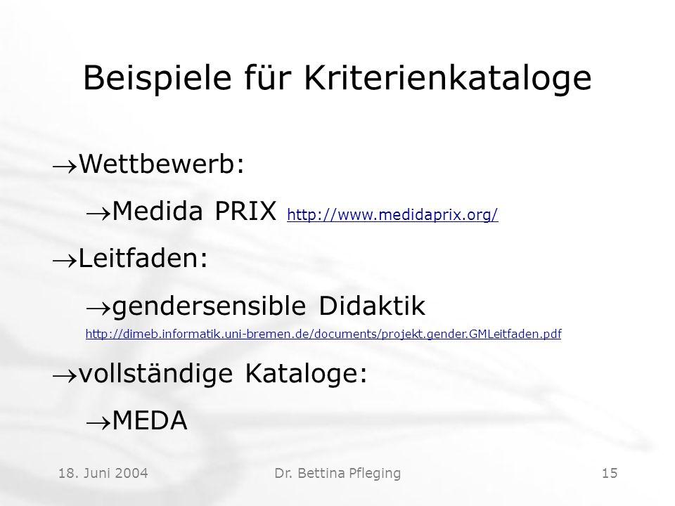 18. Juni 2004Dr. Bettina Pfleging15 Beispiele für Kriterienkataloge Wettbewerb: Medida PRIX http://www.medidaprix.org/ http://www.medidaprix.org/ Leit