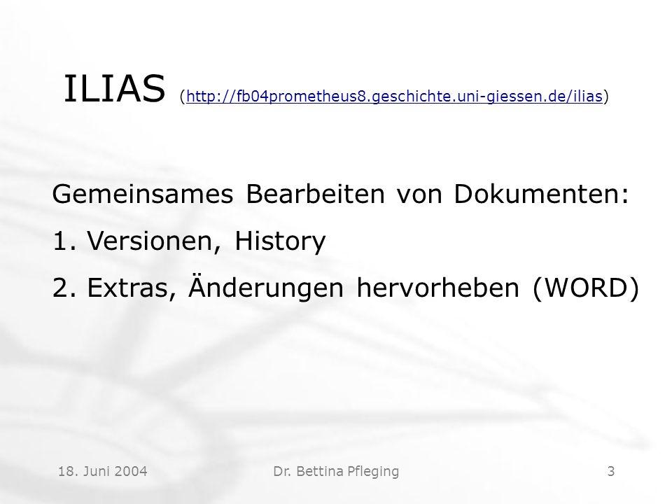 18.Juni 2004Dr. Bettina Pfleging4 Ihr Ergebnis Ranking!.