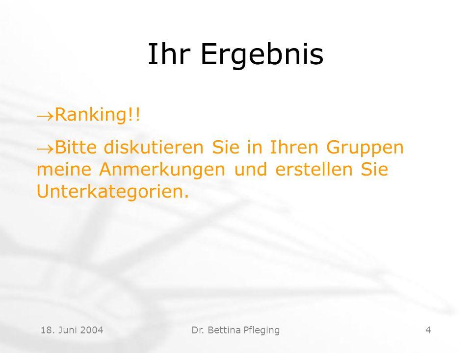 18. Juni 2004Dr. Bettina Pfleging4 Ihr Ergebnis Ranking!.