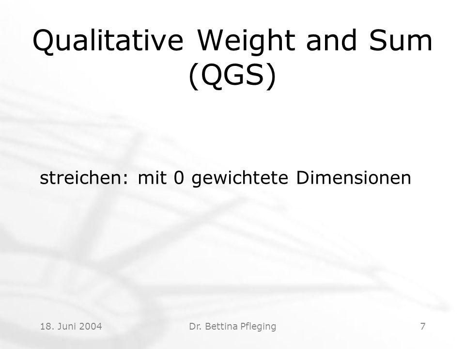 18. Juni 2004Dr. Bettina Pfleging7 Qualitative Weight and Sum (QGS) streichen: mit 0 gewichtete Dimensionen