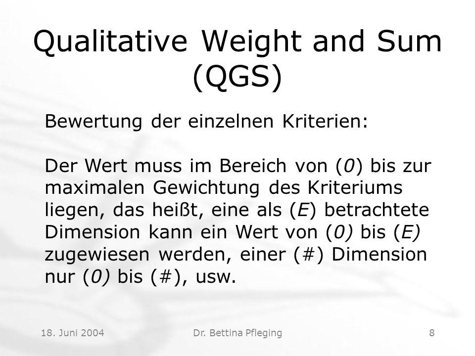 18. Juni 2004Dr. Bettina Pfleging8 Qualitative Weight and Sum (QGS) Bewertung der einzelnen Kriterien: Der Wert muss im Bereich von (0) bis zur maxima