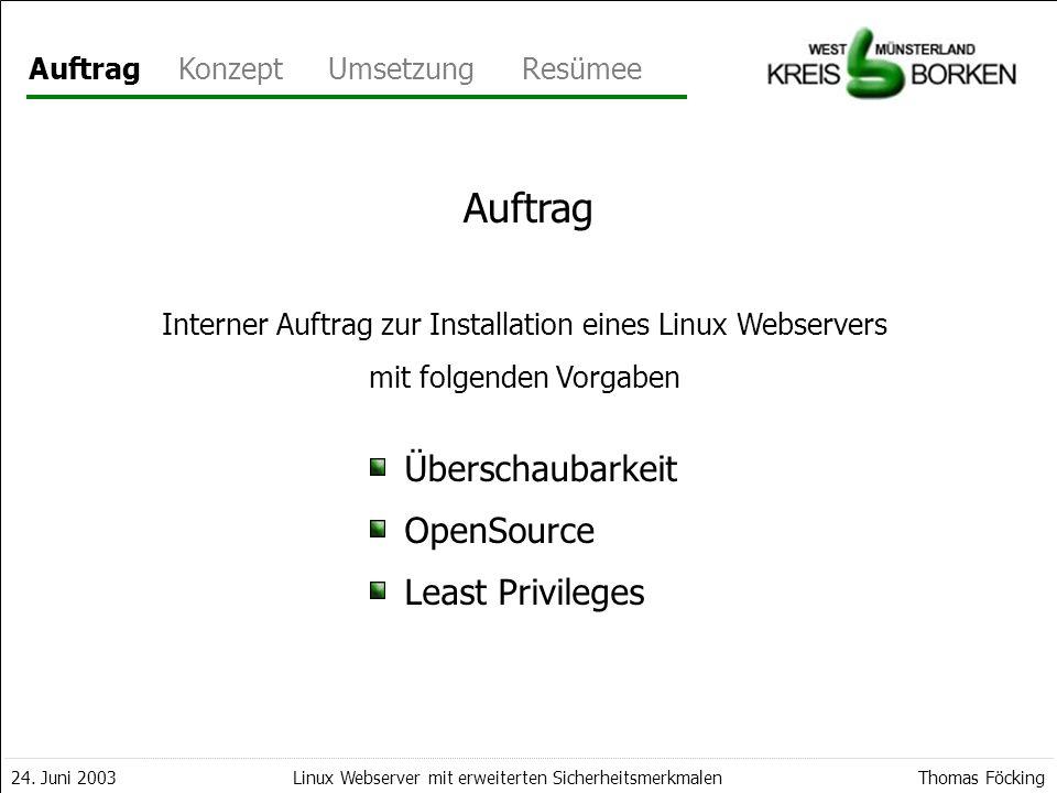 AuftragKonzeptUmsetzungResümee 24. Juni 2003Thomas FöckingLinux Webserver mit erweiterten Sicherheitsmerkmalen Auftrag Interner Auftrag zur Installati