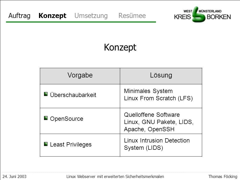 AuftragKonzeptUmsetzungResümee 24. Juni 2003Thomas FöckingLinux Webserver mit erweiterten Sicherheitsmerkmalen Konzept VorgabeLösung Überschaubarkeit