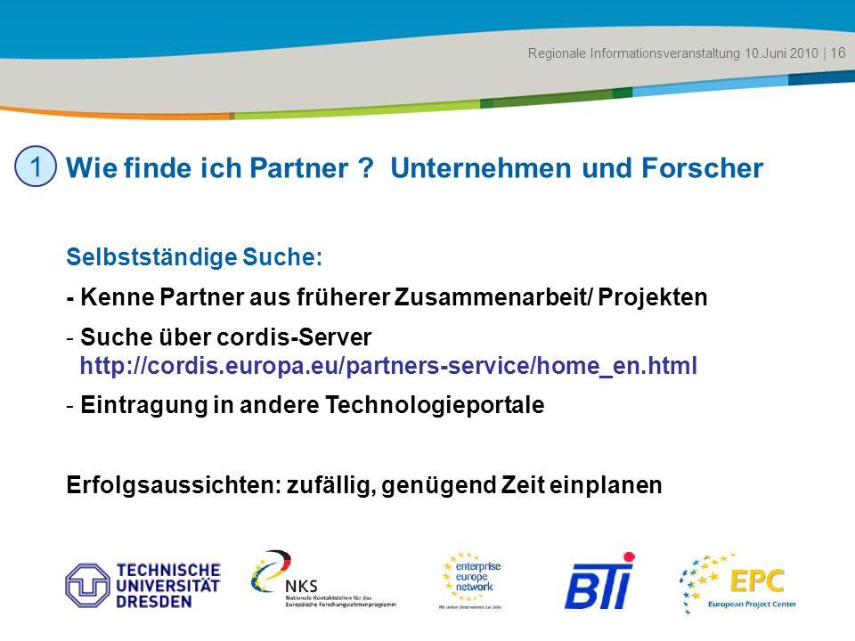 Title of the presentation | Date |# Selbstständige Suche: - Kenne Partner aus früherer Zusammenarbeit/ Projekten - Suche über cordis-Server http://cor
