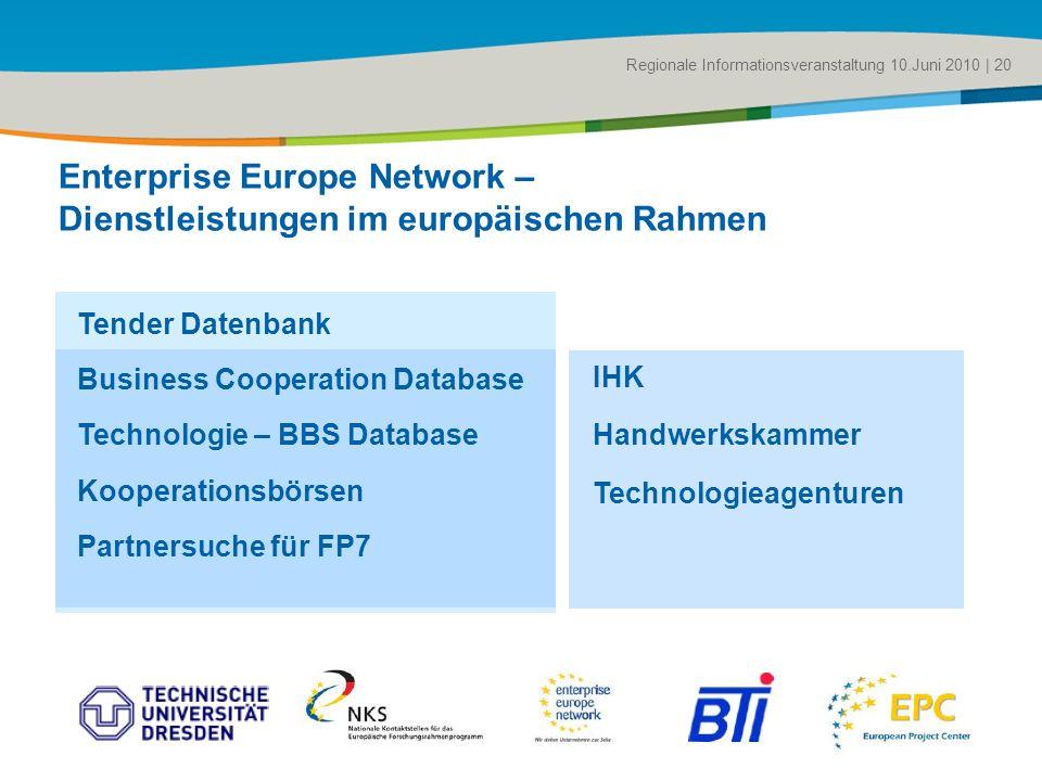 Title of the presentation | Date |# Regionale Informationsveranstaltung 10.Juni 2010 | 20 Enterprise Europe Network – Dienstleistungen im europäischen