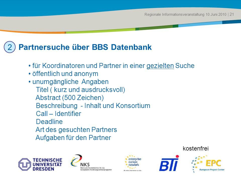 Title of the presentation | Date |# Partnersuche über BBS Datenbank Regionale Informationsveranstaltung 10.Juni 2010 | 21 2 für Koordinatoren und Part