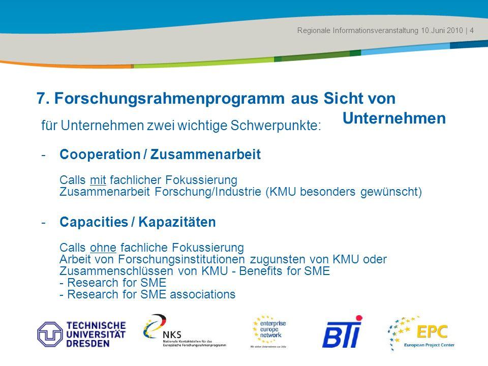 Title of the presentation | Date |# für Unternehmen zwei wichtige Schwerpunkte: -Cooperation / Zusammenarbeit Calls mit fachlicher Fokussierung Zusamm