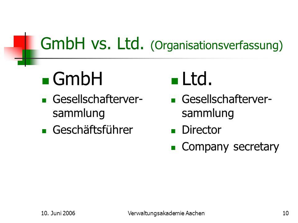 10.Juni 2006Verwaltungsakademie Aachen11 GmbH vs.