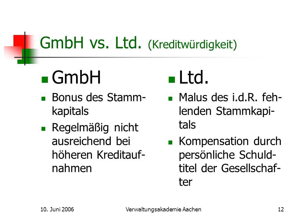 10.Juni 2006Verwaltungsakademie Aachen13 GmbH vs.