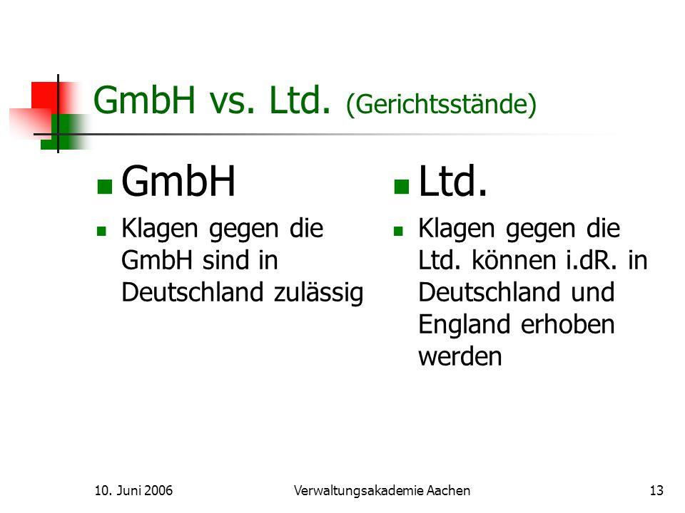 10.Juni 2006Verwaltungsakademie Aachen14 GmbH vs.