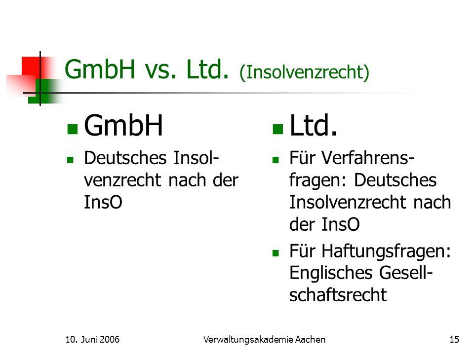 Die Englische Limited (Ltd.) Eine neue Gesellschaftsform in Deutschland und ein noch weitgehend unbekanntes Wesen Dr.
