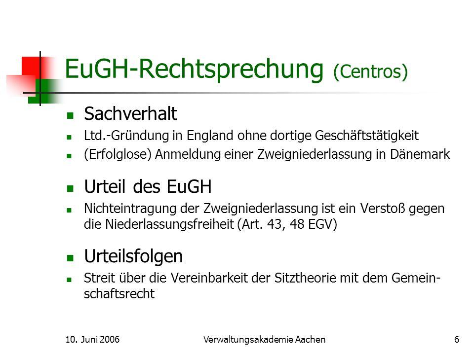10.Juni 2006Verwaltungsakademie Aachen7 EuGH-Rechtsprechung (Überseering) Sachverhalt B.V.