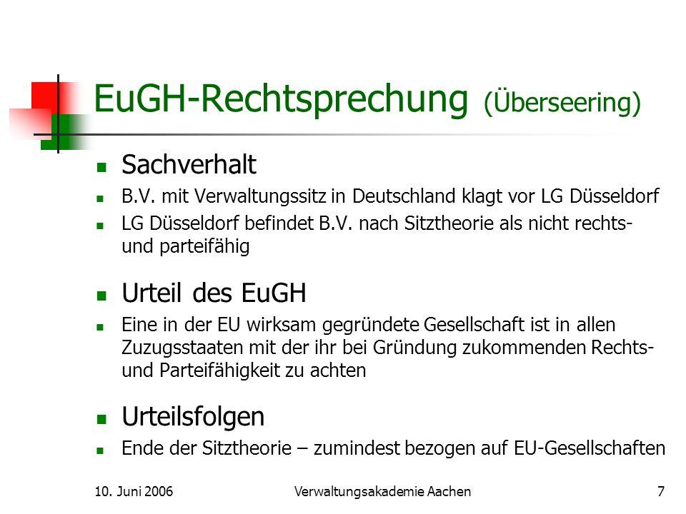 10.Juni 2006Verwaltungsakademie Aachen8 EuGH-Rechtsprechung (Inspire Art) Sachverhalt Ltd.
