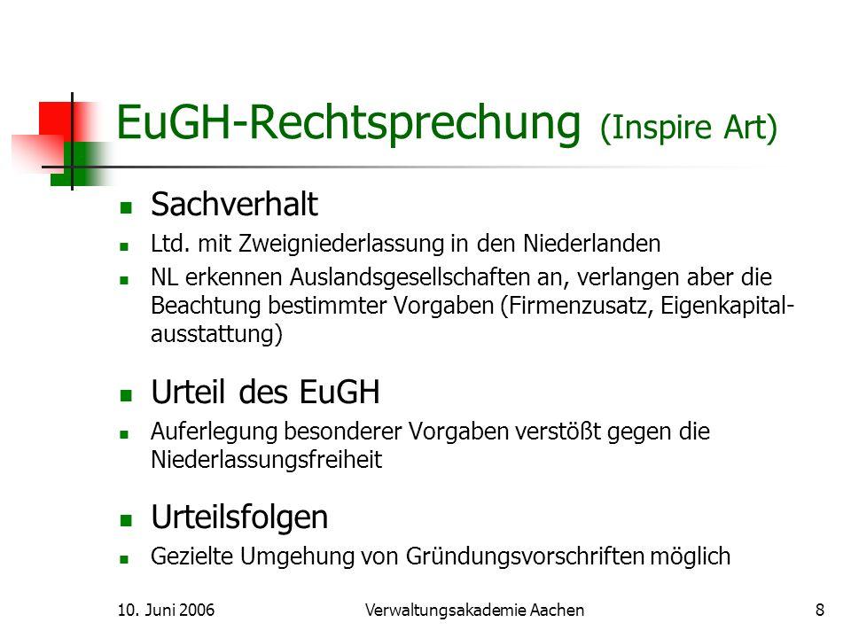 10.Juni 2006Verwaltungsakademie Aachen9 GmbH vs. Ltd.