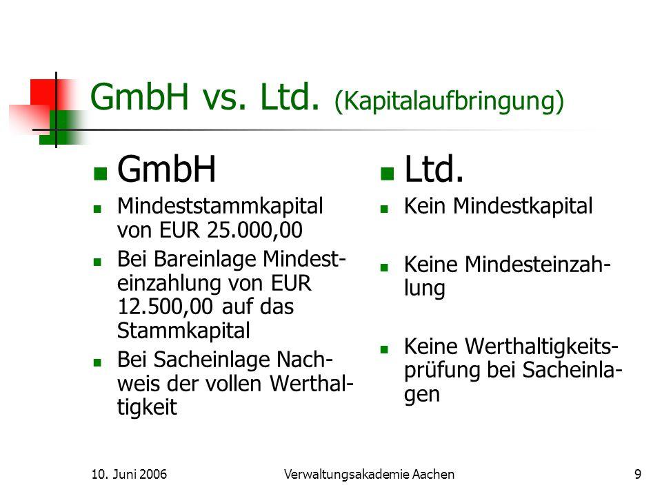 10.Juni 2006Verwaltungsakademie Aachen10 GmbH vs.