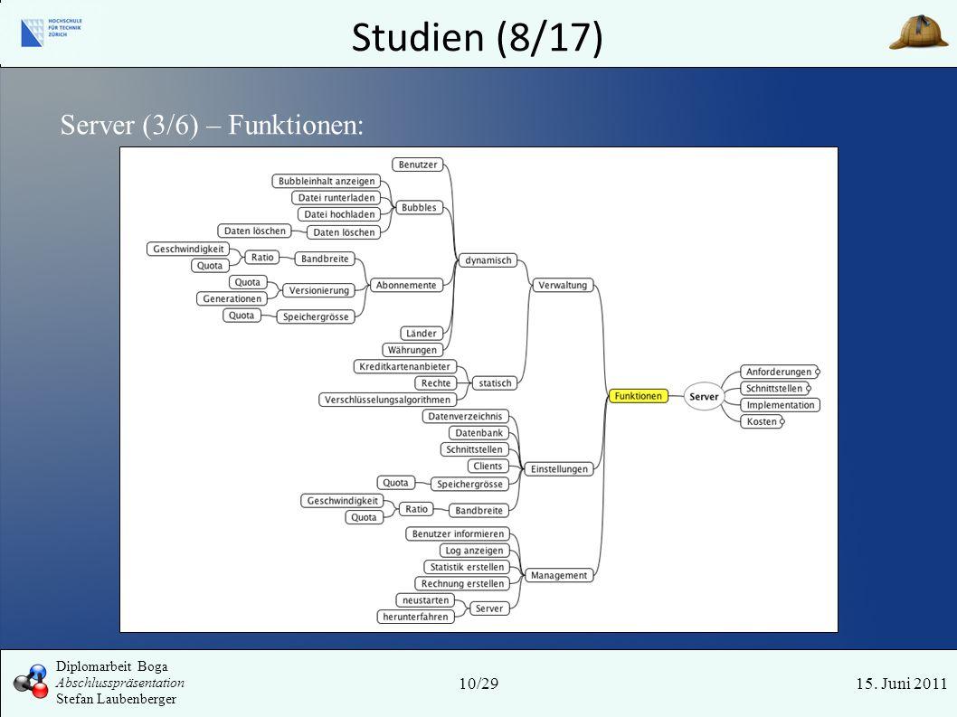 Studien (8/17) 15. Juni 2011 Server (3/6) – Funktionen: 10/29 Diplomarbeit Boga Abschlusspräsentation Stefan Laubenberger