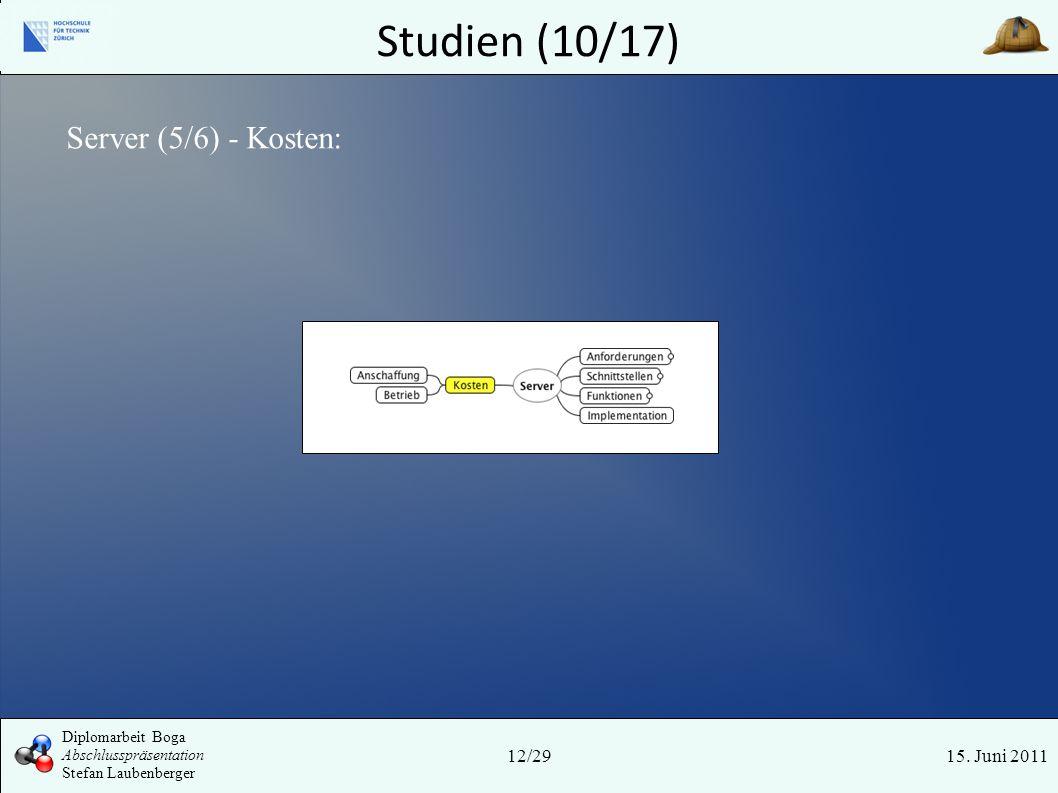 Studien (10/17) 15. Juni 2011 Server (5/6) - Kosten: 12/29 Diplomarbeit Boga Abschlusspräsentation Stefan Laubenberger