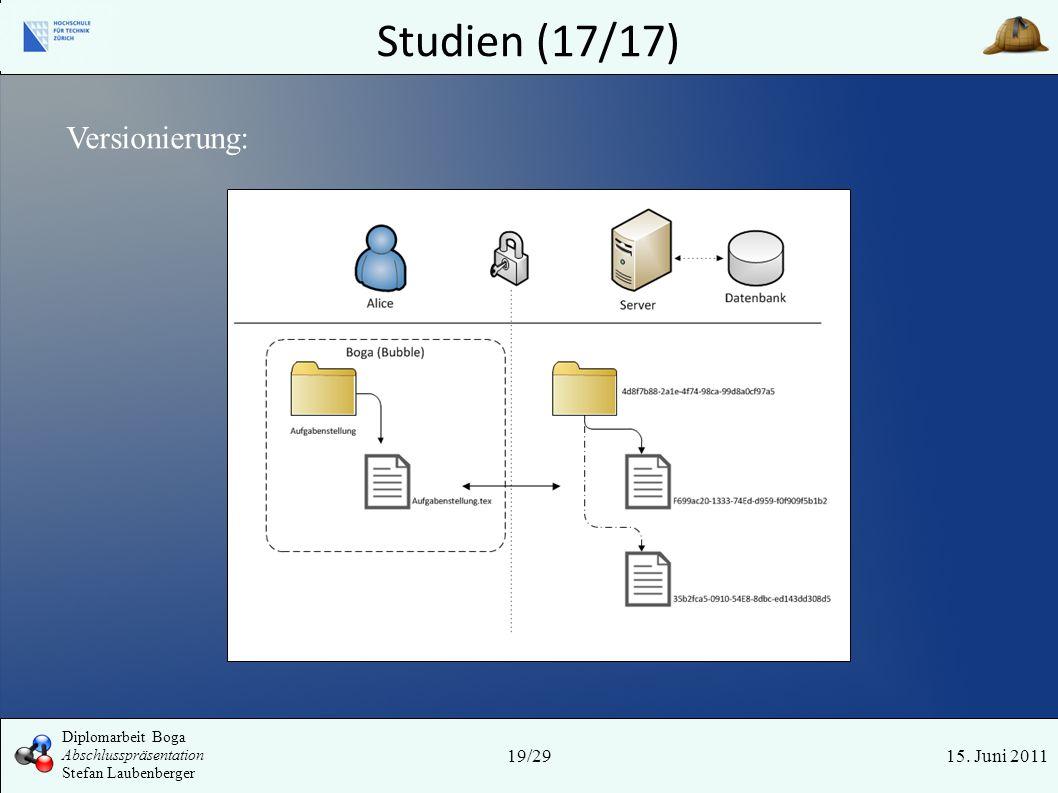 Studien (17/17) 15. Juni 2011 Versionierung: 19/29 Diplomarbeit Boga Abschlusspräsentation Stefan Laubenberger