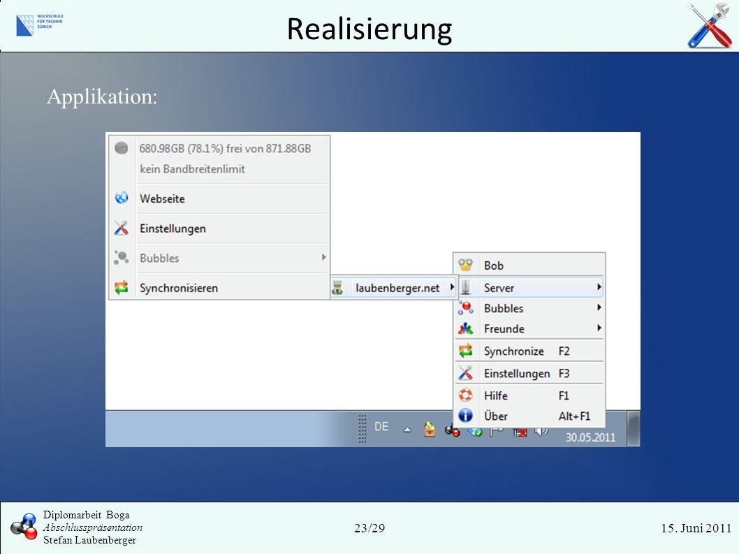 Realisierung 15. Juni 201123/29 Diplomarbeit Boga Abschlusspräsentation Stefan Laubenberger Applikation: