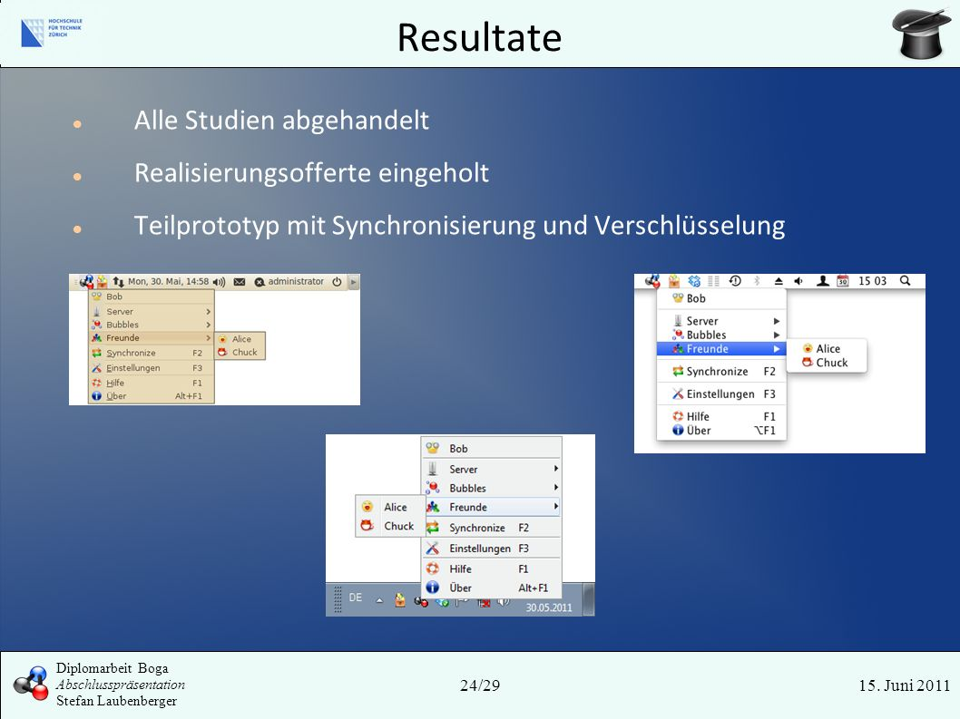 Resultate 15. Juni 201124/29 Diplomarbeit Boga Abschlusspräsentation Stefan Laubenberger Alle Studien abgehandelt Realisierungsofferte eingeholt Teilp