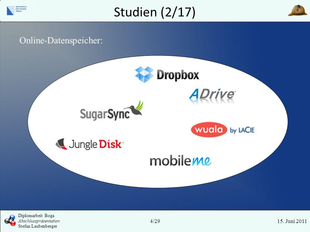 Studien (2/17) 15. Juni 2011 Online-Datenspeicher: 4/29 Diplomarbeit Boga Abschlusspräsentation Stefan Laubenberger