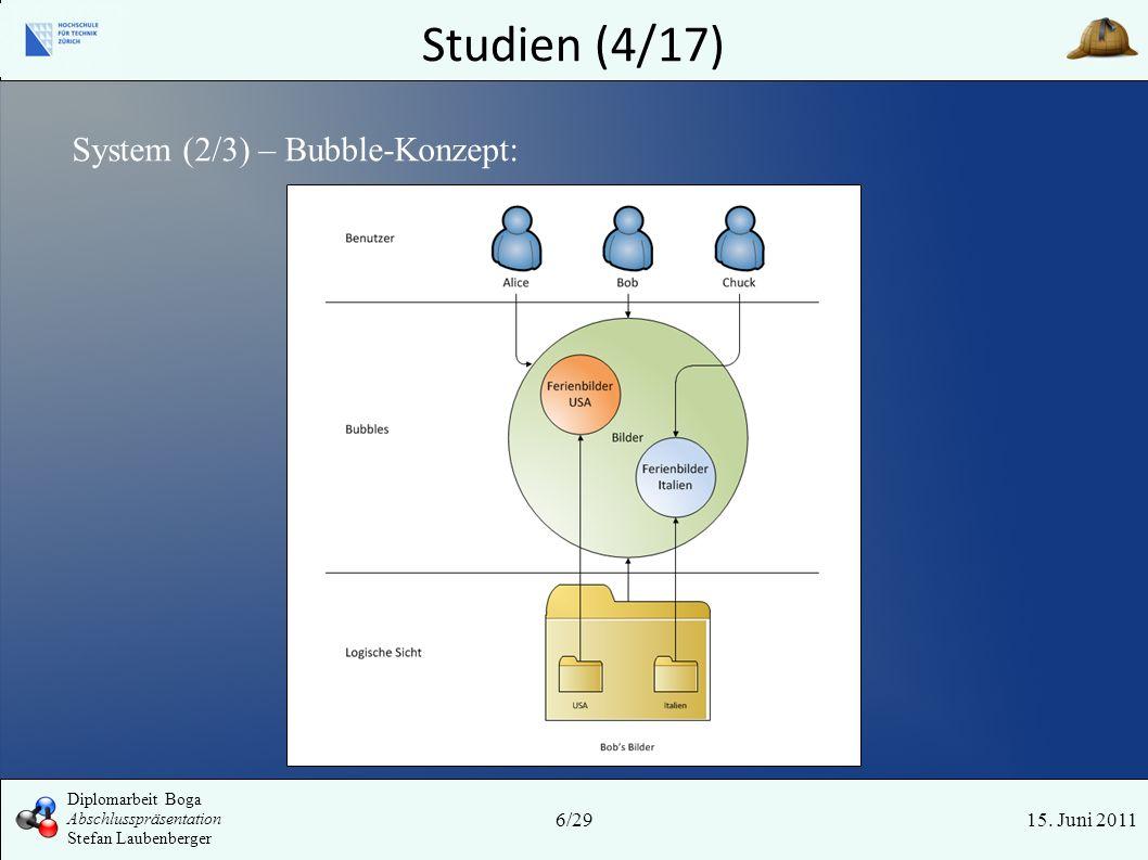 Studien (4/17) 15. Juni 2011 System (2/3) – Bubble-Konzept: 6/29 Diplomarbeit Boga Abschlusspräsentation Stefan Laubenberger