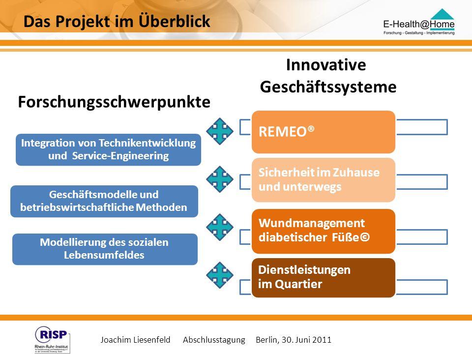 Joachim Liesenfeld Abschlusstagung Berlin, 30. Juni 2011 Integration von Technikentwicklung und Service-Engineering Geschäftsmodelle und betriebswirts