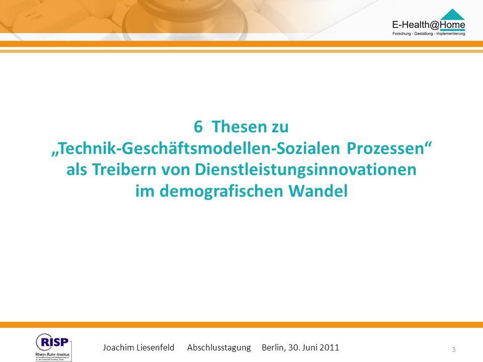 Joachim Liesenfeld Abschlusstagung Berlin, 30. Juni 2011 3 6 Thesen zu Technik-Geschäftsmodellen-Sozialen Prozessen als Treibern von Dienstleistungsin