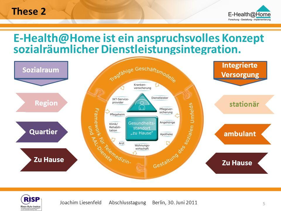 Joachim Liesenfeld Abschlusstagung Berlin, 30. Juni 2011 5 These 2 E-Health@Home ist ein anspruchsvolles Konzept sozialräumlicher Dienstleistungsinteg