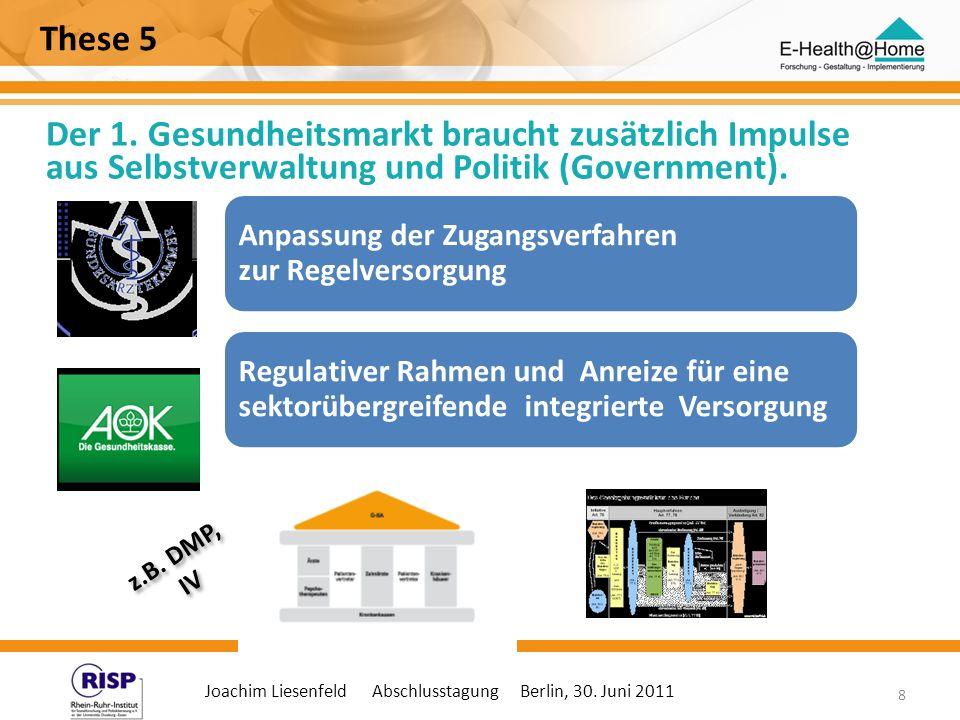 Joachim Liesenfeld Abschlusstagung Berlin, 30. Juni 2011 8 These 5 Der 1. Gesundheitsmarkt braucht zusätzlich Impulse aus Selbstverwaltung und Politik