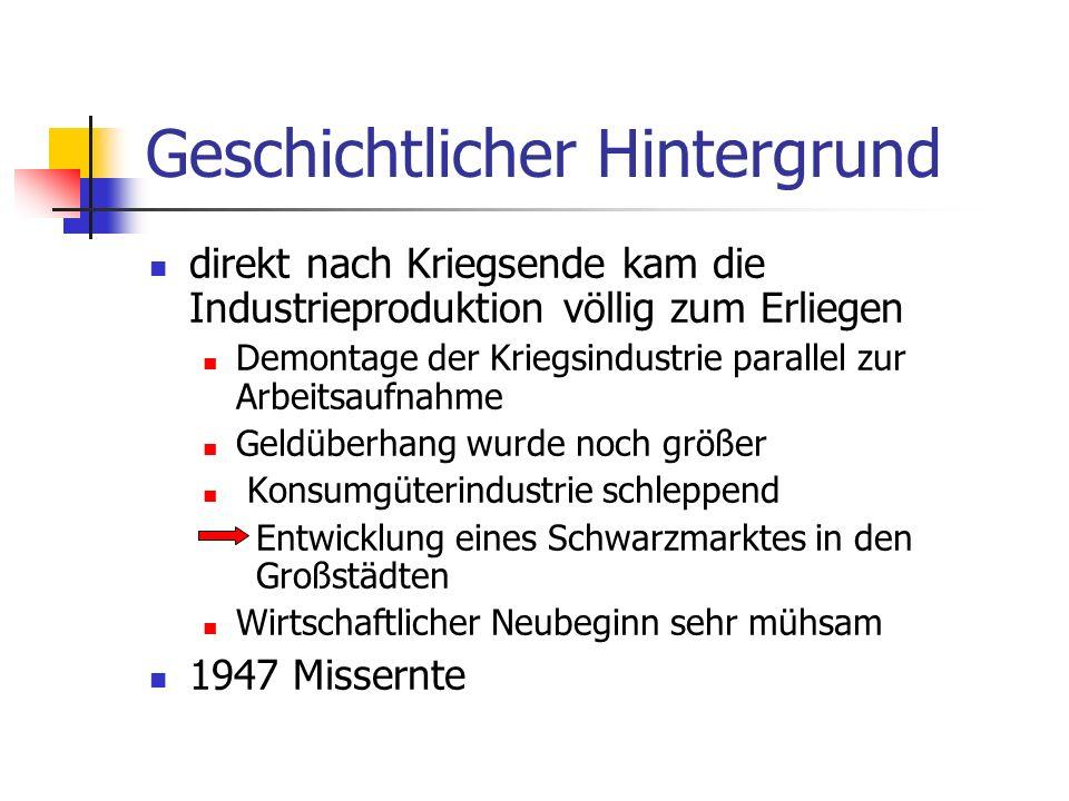Geschichtlicher Hintergrund direkt nach Kriegsende kam die Industrieproduktion völlig zum Erliegen Demontage der Kriegsindustrie parallel zur Arbeitsa