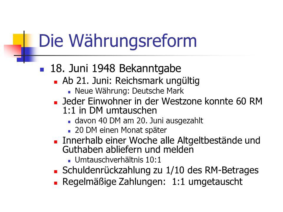 Die Währungsreform 18. Juni 1948 Bekanntgabe Ab 21. Juni: Reichsmark ungültig Neue Währung: Deutsche Mark Jeder Einwohner in der Westzone konnte 60 RM