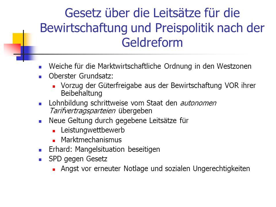Gesetz über die Leitsätze für die Bewirtschaftung und Preispolitik nach der Geldreform Weiche für die Marktwirtschaftliche Ordnung in den Westzonen Ob