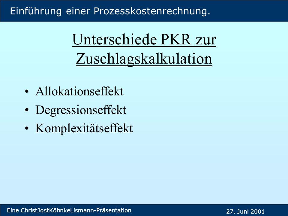Einführung einer Prozesskostenrechnung. Eine ChristJostKöhnkeLismann-Präsentation 27. Juni 2001 Unterschiede PKR zur Zuschlagskalkulation Allokationse