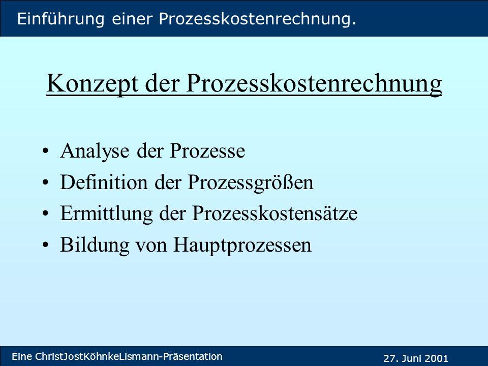 Einführung einer Prozesskostenrechnung. Eine ChristJostKöhnkeLismann-Präsentation 27. Juni 2001 Konzept der Prozesskostenrechnung Analyse der Prozesse
