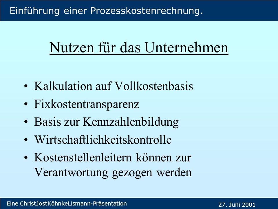 Einführung einer Prozesskostenrechnung. Eine ChristJostKöhnkeLismann-Präsentation 27. Juni 2001 Nutzen für das Unternehmen Kalkulation auf Vollkostenb