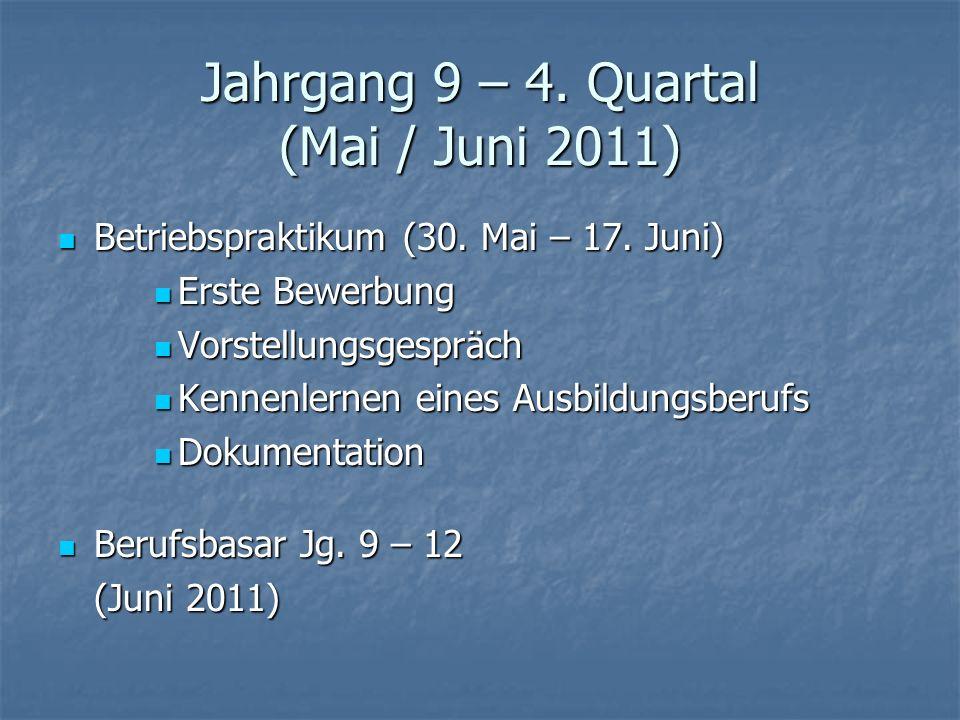 Jahrgang 9 – 4. Quartal (Mai / Juni 2011) Betriebspraktikum (30. Mai – 17. Juni) Betriebspraktikum (30. Mai – 17. Juni) Erste Bewerbung Erste Bewerbun